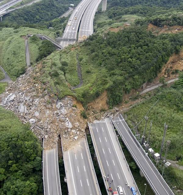 Xizhi, Taiwan - A landslide occured  on April 25, 2010 covering